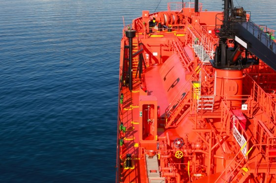 Red Lpg Tanker, Bow With Equipment